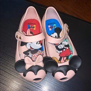 Mini Melissa Shoes - Mini Melissa Pink Mickey & Minnie EUC T7